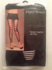 Elegant Moments Opaque Leggings with Rips One Size Lingerie Black #1853