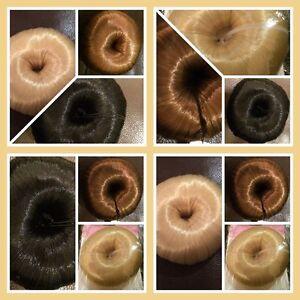 Bun Shaper Do nut Hair Covered bun Ring, blonde browns black blends with hair