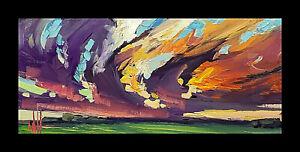 HAWKINS Hot Sky Original Clouds Landscape Impressionism Oil Art Painting  Signed