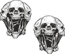 2x Skulls Heads Stickers for Motorcycle Gas Tank Car Helmet Guitar Fridge #20