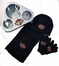Harley-Davidson Logo Boys Kids Knit Winter Hat Gloves Scarf Gift Set 4-7Years
