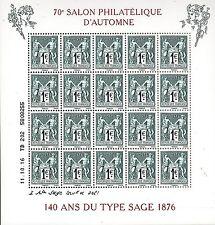 BLOC   20 TIMBRE GOMME 70e SALON PHILATELIQUE D'AUTOMNE 140 ANS   TYPE SAGE