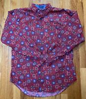 Vintage Chaps Ralph Lauren Red Kaleidoscope Print Used Men's Size L Button Down