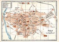 Ávila Avila 1929 peq. mapa ciudad orig. + guía (5 p) San-Antonio -Juan Gordillas
