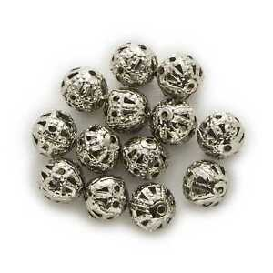 100 Piece Silver Tone Hollow Flower Spacer Beads Findings Jewelry Making 4-10mm