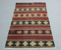Hand Knotted Traditional Turkish Kilim Rug Anatolian Vintage Wool Carpet 3x5 ft.