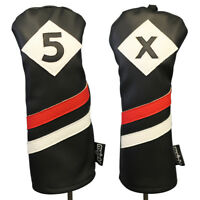 Majek Retro Golf #5 & X Fairway Wood Headcover Black Red White Leather Style