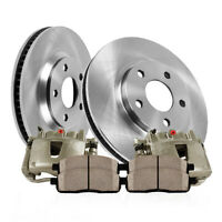 Front Calipers + Brake Rotors +Ceramic Pads For Cherokee Grand Cherokee Wrangler
