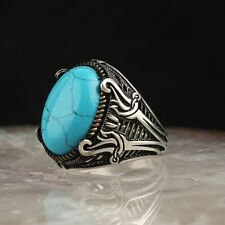 Sterling 925 Silver Handmade Jewelry Turquoise Men's Ring Size 10