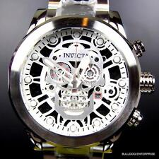 Invicta Corduba Skull Collection Skeletonized Chronograph Steel Silver Watch New