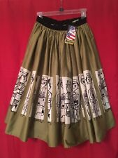 """Pinup Girl Mary Blair Jenny Skirt Sz Small """"People Ride to Work"""" NWT Commuters"""