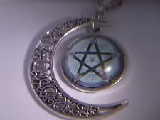 "Wicca 5 Point Star Pendant Hanging from Half Moon & 18"" Necklace "" NEW """