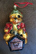 """Pirate Bear with Crossbones Hat & Treasure Glass Christmas Decoration 7"""" Tall"""
