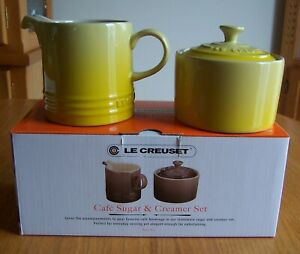 Le Creuset Soleil Ombre Cafe Covered Sugar and Creamer Stoneware Set New in Box