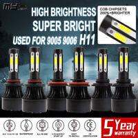 4-Sides 9005 9006 H11 Combo LED Headlight 7800W Hi/Low Beam Bulb White Fog Light