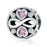 Infinite Love Heart 925 Sterling Silver Charm with Pink CZ Fit European Bracelet
