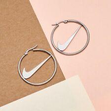 Silver Nike Hoop Earrings | Stainless Steel Tick Swoosh Check Inspired
