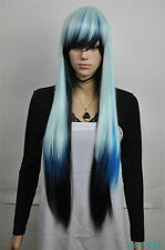 Fashionable blue mix black long straight women's wig+hairnet