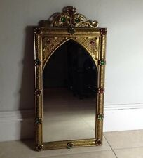Collectors Rococo Handmade Handcarved Brass Wall Mirror With Cabochon Stones