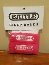 Battle Sports Science Bicep Bands - Pink Sweatbands with White Logo - New