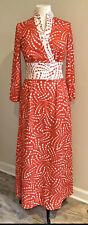 70s Vintage Malouf of Dallas Maxi Dress 10 M Mod Red White V-Neck Knit Retro