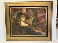 "Original Oil Painting Signed Armenian Artist Norik Impressionism Female 20x16"""
