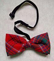 Vintage Bow Tie MENS Dickie Bowtie Adjustable TARTAN RED GREEN NAVY