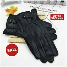 Men's Real Leather Gloves Winter Fleece Lined Soft Driving Thermal Gloves Black