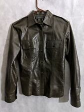 7e99e8d8 Gucci Tom Ford Era Brown Leather Military Shirt Size 40 Italy