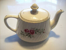 Vintage Crown Dorset Tea Kettle Coffee Pot Pink Roses Ribbed Porcelain @ cLoseT