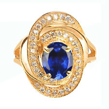 14KT Solid Yellow Gold 1.75CT Natural Blue Tanzanite EGL Certified Diamond Ring