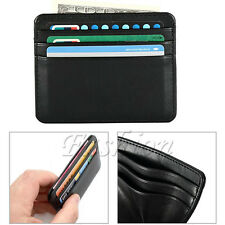 Women's Men's Real Leather Small Id Credit Card Wallet Holder Slim Pocket Case
