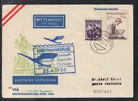 A-29)beautiful FFC LH 430 Lufthansa Hamburg in 1956 to Chicago feed line Vienna