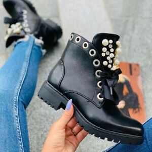 Womens Pearls Rhinestones Low Block Heels Round Toe Lace Up Ankle Riding Boots