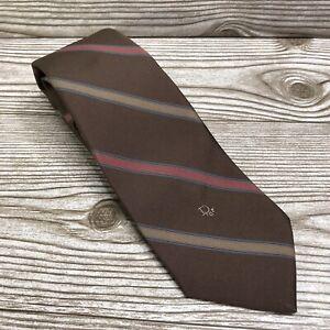 Vintage Christian Dior Classic Logo Monogram Mens Neck Tie Brown Striped