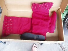 THIGH HIGH BOOTS, RED WITH RIVETS AND GROMMETTS,