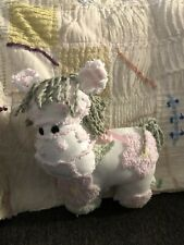 Handmade White Pink Floral Antique Chenille Bedspread Horse
