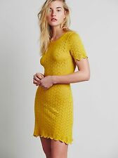 Knitz, For Love & Lemons, Lemon drop T Shirt sheer sweater bodycon dress XS