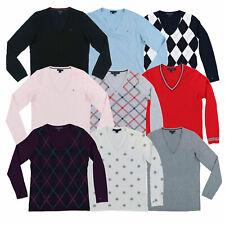 Tommy Hilfiger para mujer Suéter Cuello en V Suéter Ligero Abrigo Flag Logo