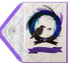 Papyrus Feathered Spooky Wreath Halloween Greeting Card SOLD OUT