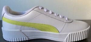 Puma Women's Carina L Classic Casual Shoes, Color White/Sunny Lime, Size 8.5 US
