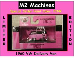 M2 Machines 1960 VW Delivery Van Kombi Bus Special Order Paint Color PINK