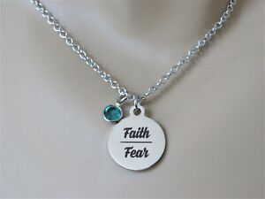 Faith over Fear Necklace with Birthstone, Strength, Christian, Gift for Daughter