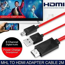 2M MHL Micro USB to HDMI Cable 1080p Lead Red For Android Samsung LG HTC Sony UK