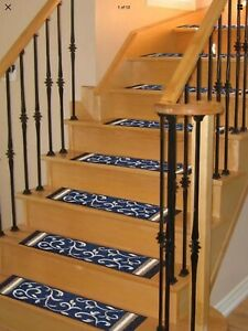 """Gloria Washable Stair Mat (SET OF 11)(8.5""""x26"""") Blue"""