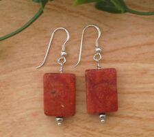 Natural Red Orange Sponge Coral Rectangle Gemstone 925 Sterling Silver Earrings