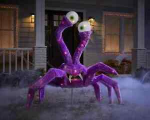 4 Ft Animated 80 Light LED Purple Spider Home Accents Holiday Halloween