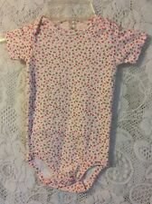 Baby Girls Carters 12M Cotton Pink Floral One Piece Bodysuit Short Sleeve