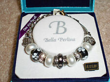Bella Perlina Swarovski Crystal Charm Bracelet Black & White Murano Glass NIB