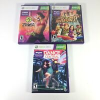 XBOX 360 Lot of 3 Kinect Games - Adventures, Zumba Fitness, Dance Central